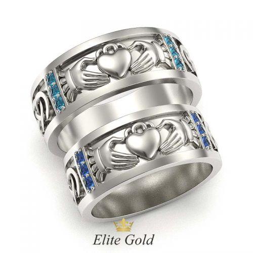 кладдахские обручальные кольца в белом золоте