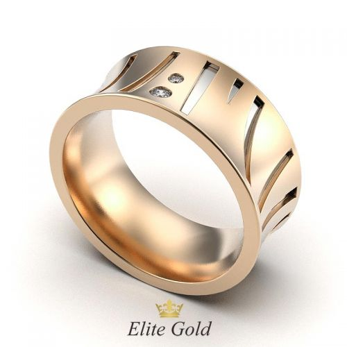 кольцо Mira в красном золоте с белыми камнями