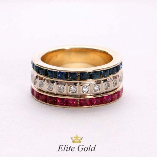 женское кольцо в красном золоте с тремя рядами камней
