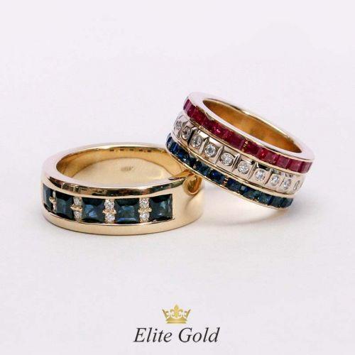 кольца Viva Amore Viva в красном золоте с разноцветными камнями
