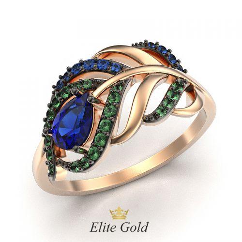 кольцо в виде пера в красном золоте с чернением
