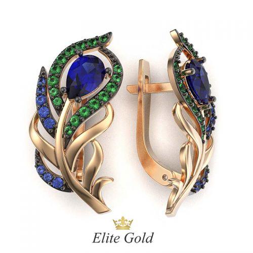 золотые серьги в виде перьев