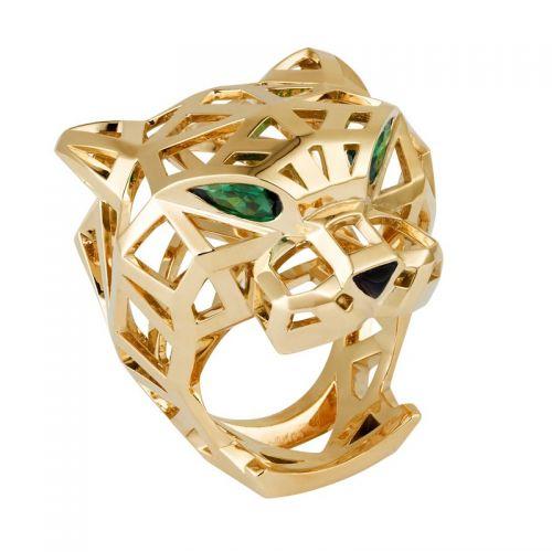 кольцо Пантера с зелеными камнями и ониксом