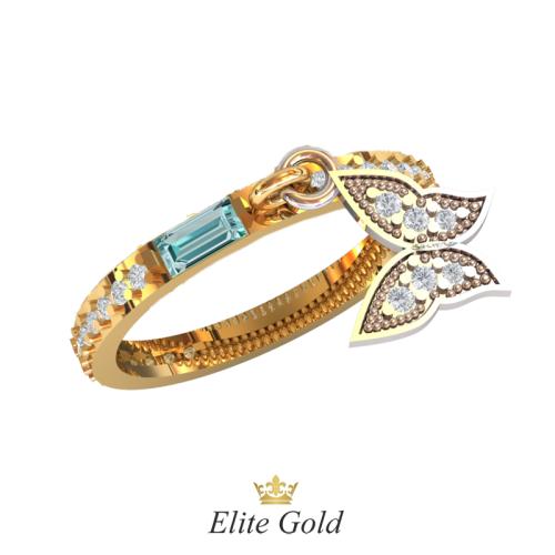 золотое кольцо с бабочкой