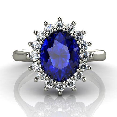 кольцо Принцессы Дианы в белом золоте