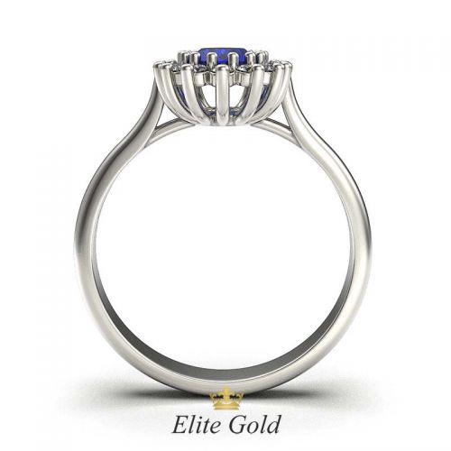 кольцо для помолвки с сапфиром и бриллиантами