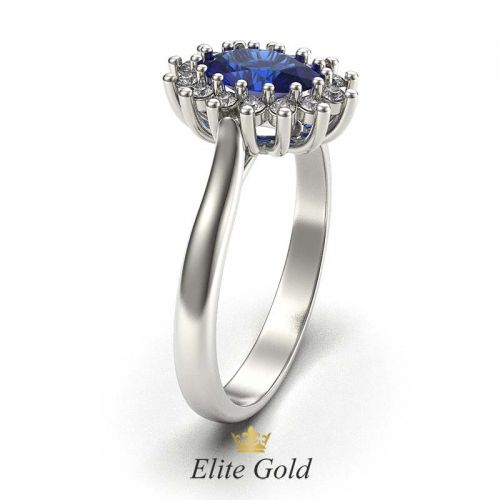 кольцо для помолвки с сапфиром и бриллиантами, вид сбоку