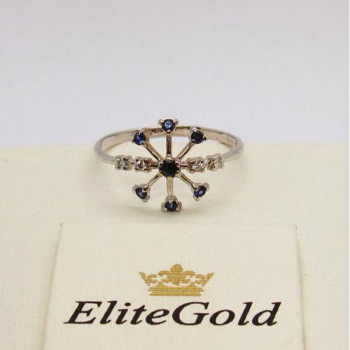 кольцо снежинка в белом золоте 585