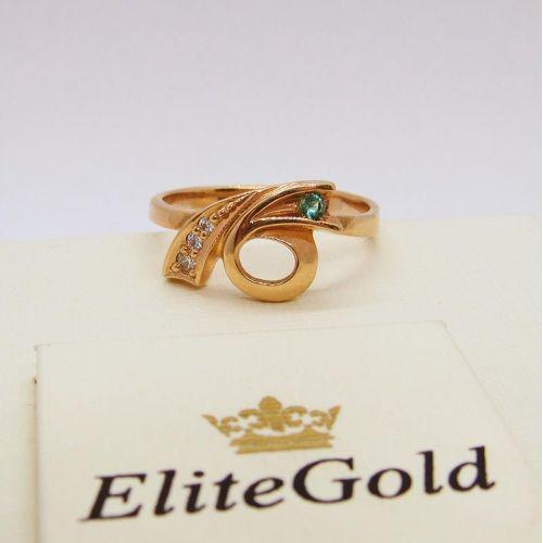 кольцо с изумрудом и бриллиантами в красном золоте 585
