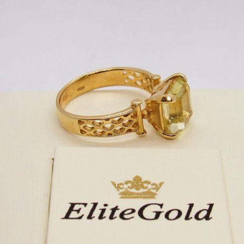 кольцо с крупным бериллом в лимонном золоте