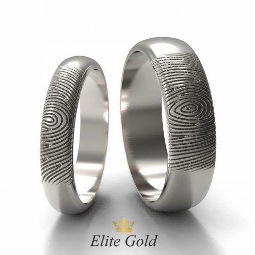 кольца с отпечатками пальцев в белом золоте