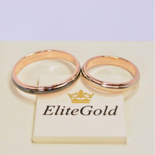 обручальные кольца в красном золоте с чернением