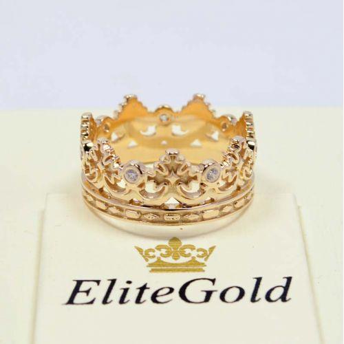 кольцо корона в лимонном золоте с белыми камнями