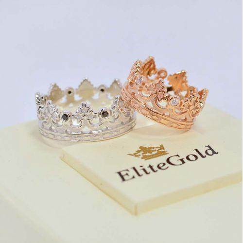 кольца короны в красном и белом золоте
