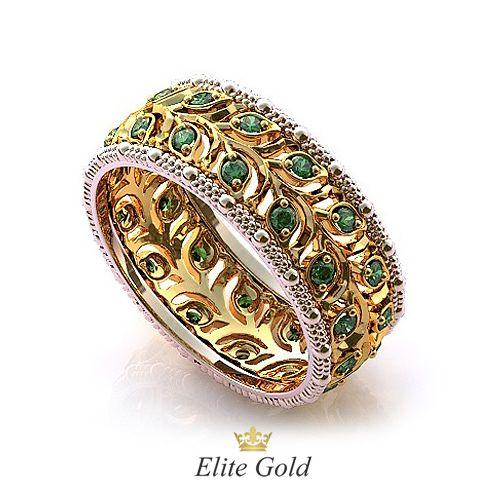 кольцо Diva's Dream с зелеными камнями в комбинированном золоте