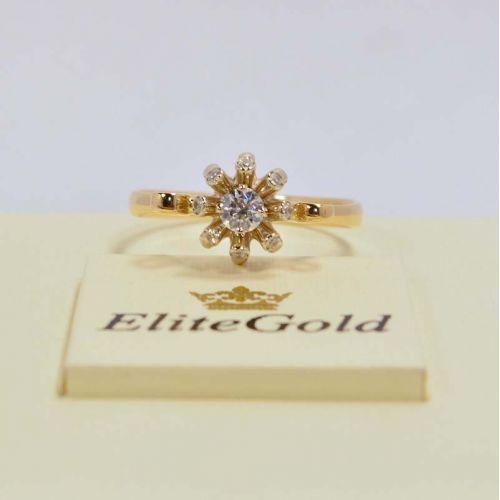 кольцо в виде цветка в лимонном и белом золоте
