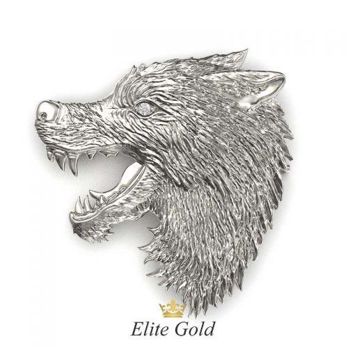 брошь в виде головы волка в белом золоте