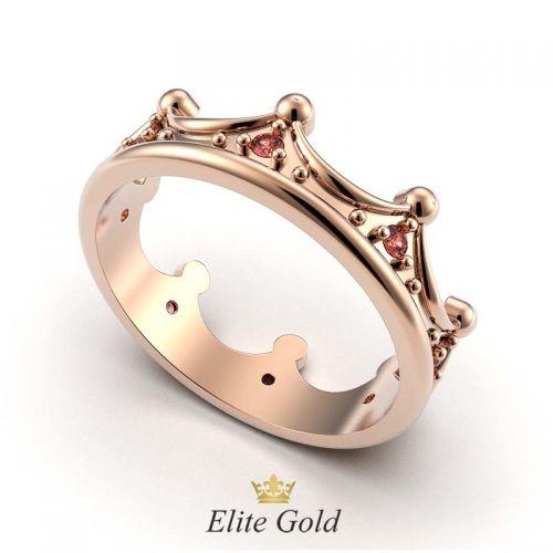 кольцо корона с красными камнями