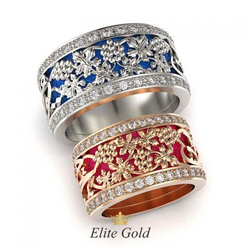 кольца с эмалью и камнями в белом и красном золоте