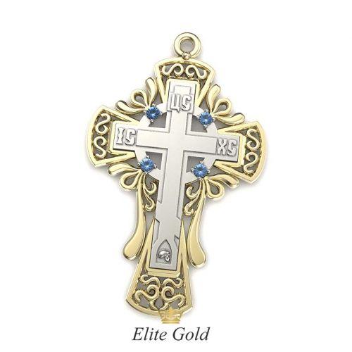 крест Contour в лимонном и белом золоте с темно-голубыми камнями