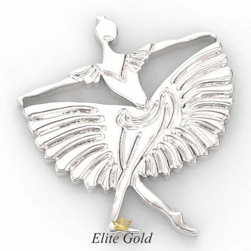 кулон балерина в белом золоте