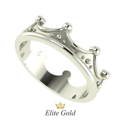 кольцо корона в белом золоте без камней