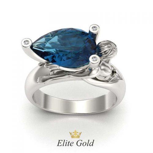 перстень с изображением русалки в белом золоте