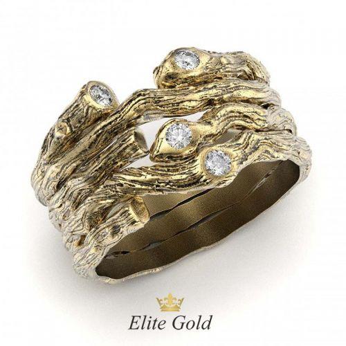 обручальное кольцо с имитацией древесной текстуры