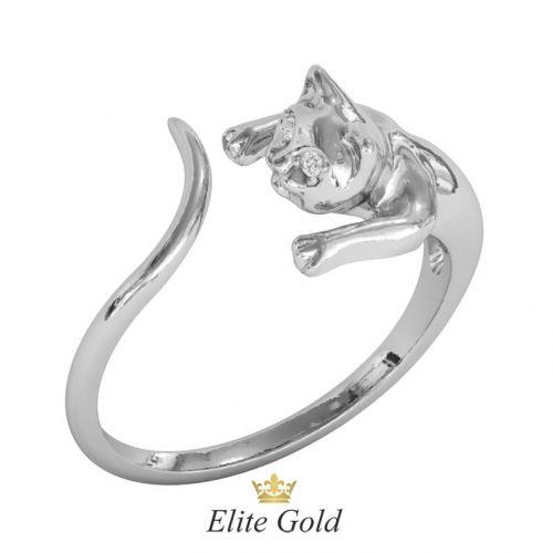 кольцо кошка в белом золоте