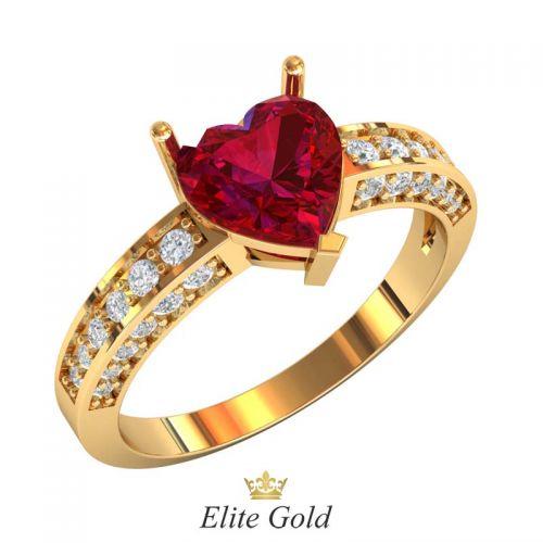 кольцо Ruelle с красным камнем огранки сердце