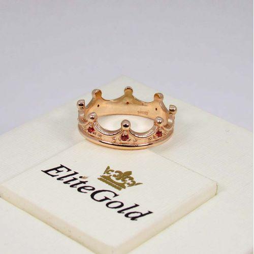 корона Celeste в красном золоте с красными фианитами