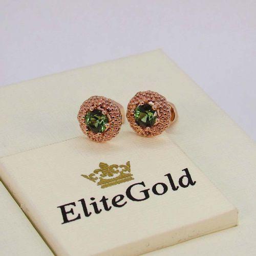 серьги Maestra в красном золоте с зелеными камнями