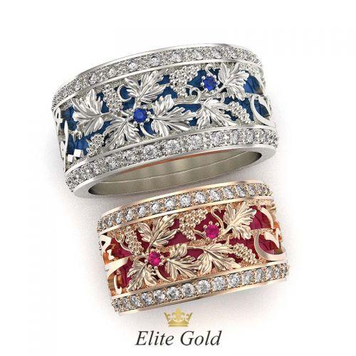 кольца с виноградной лозой, эмалью, камнями и арабскими узорами