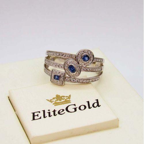 кольцо в белом золоте с сапфирами и бриллиантами