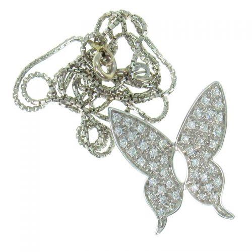 кулон в форме бабочки с бриллиантами
