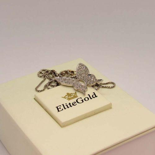 кулон бабочка в белом золоте с бриллиантами
