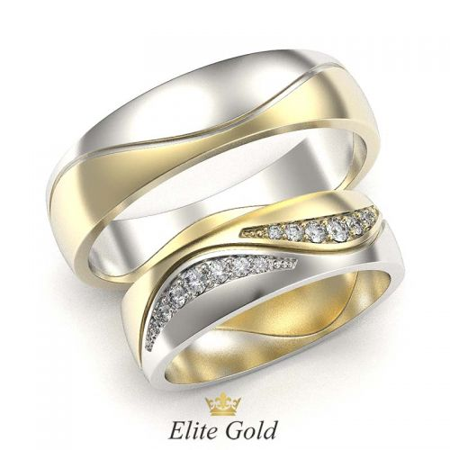 кольца Sparkle Waves в лимонном и белом золоте