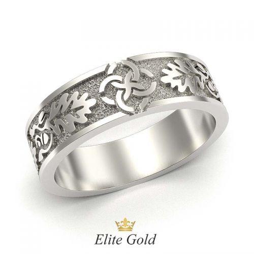 кольцо с орнаментом свадебник в белом золоте без камней