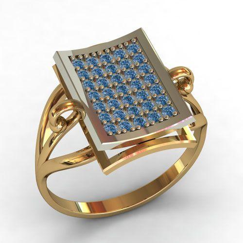 кольцо с голубыми камнями в красном и белом золоте