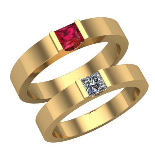 обручальные кольца с квадратными камнями