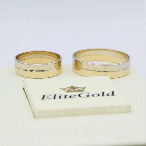 кольца с шириной 5 мм в белом и лимонном золоте 585