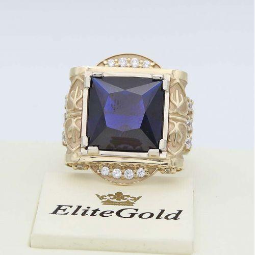 кольцо Imperial Glory II в лимонном и белом золоте с синей шпинелью