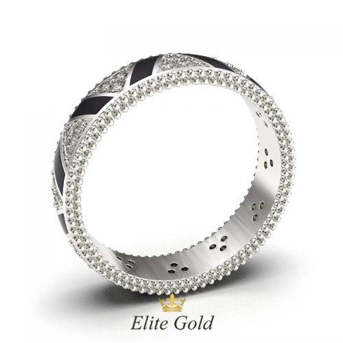 кольцо Saga с черной эмалью
