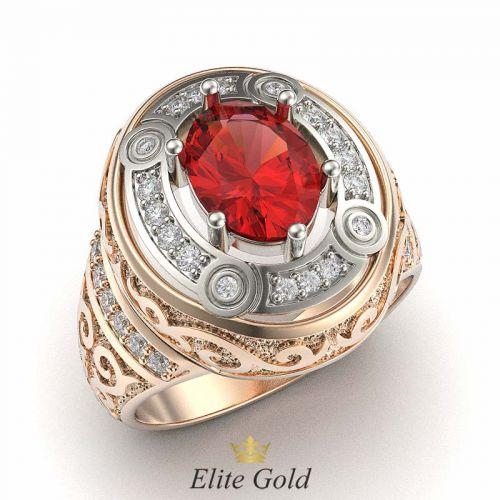 перстень Sardar в красном и белом золоте, с белыми и красными камнями