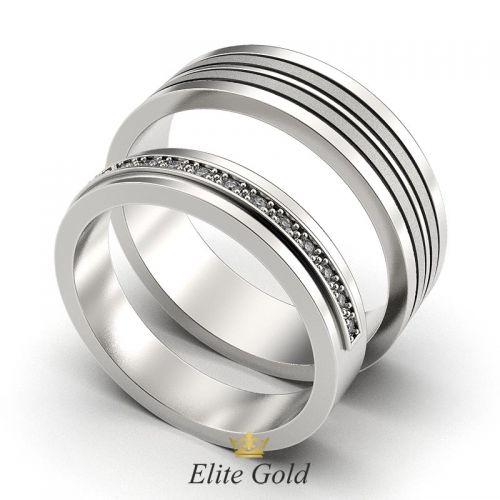 кольца Anemone в белом золоте с матированием