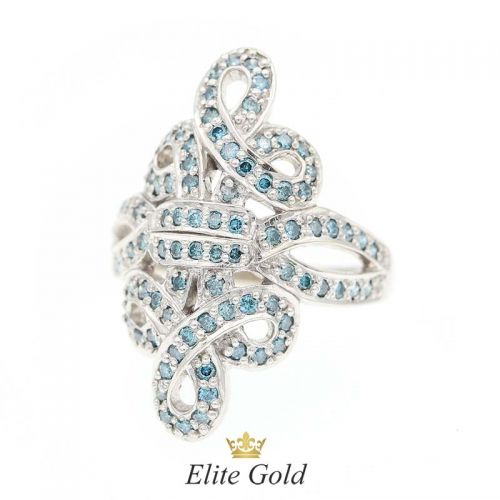 кольцо Blue Lagoon в белом золоте 585