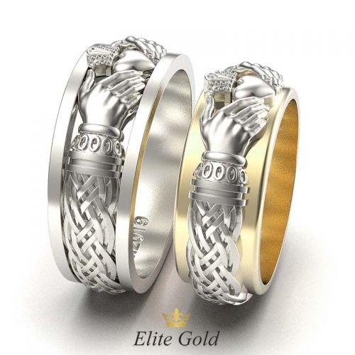 кольца Always & Forever в белом и лимонном золоте - вид сбоку