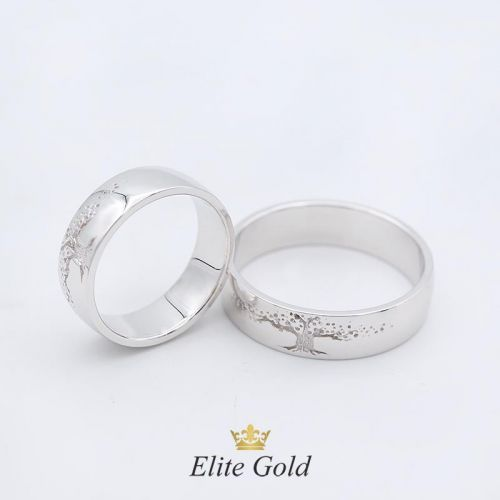 Кольца Дерево Жизни в белом золоте 585