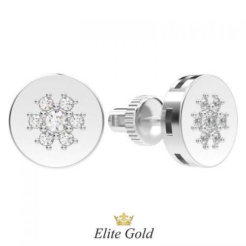 серьги пусеты круглой формы в белом золоте