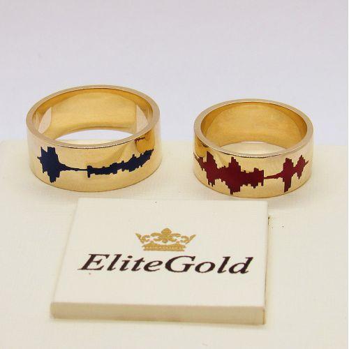 кольца Impulso с красной и темно-синей эмалью